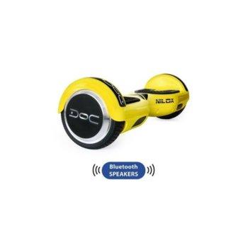 Ховърборд Nilox DOC Plus Yellow, до 10км/ч скорост, 20км макс. пробег, до 100кг, 2x 240W двигатели, Bluetooth 2.1 говорители, жълт-черен image