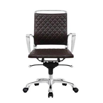 Работен стол RFG Ell W, екокожа, кафява седалка, кафява облегалка image