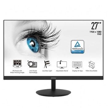 """Монитор MSI PRO MP271, 27"""" (68.58 cm) IPS панел, 75Hz, Full HD, 5ms, 1000:1, HDMI, VGA image"""