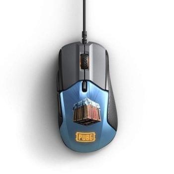 Мишка SteelSeriesRival 310 PUBG Edition, оптична(12000 dpi), гейминг, USB, черна/синя image