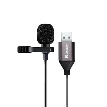 Микрофон Sandberg SNB-126-19, тип брошка, USB A, черен image