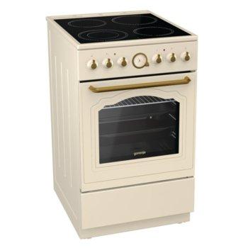 Готварска печка EC52CLI, клас А, 70 л. обем на фурната, 4 нагревателни зони, Стъклокерамичен плот, AquaClean почистване, WarmPlate, Индикатор за остатъчна топлина, златист image