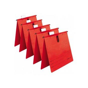 Папка картотека Herlitz, Л-образна, изработена от картон, с метални шини, червена, 5бр. в опаковка image