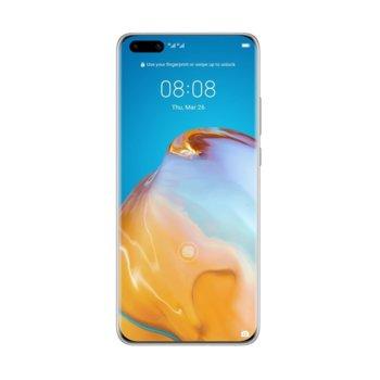 "Смартфон Huawei P40 Pro (сребрист), поддържа 2 sim карти, 6.58"" (16.71 cm) FHD+ OLED 90Hz дисплей, осемядрен Kirin 990 2.86GHz, 8GB RAM, 256GB Flash памет (+ microSD слот), 50.0 MP + 12.0 MP + 40.0 MP + TOF 3D & 32.0 MP камера, Android, 209g image"