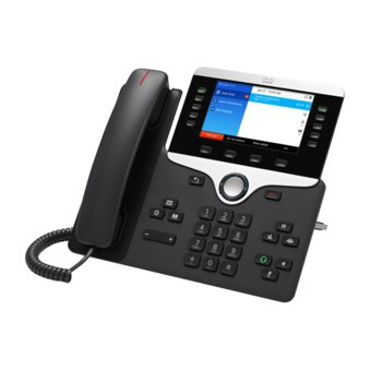 "VoIP телефон Cisco IP Phone 8851, 5.0""(12.70 cm) WVGA цветен дисплей, 5 линии, 2x RJ-45 10/100/1000, PoE, тъмно сив image"