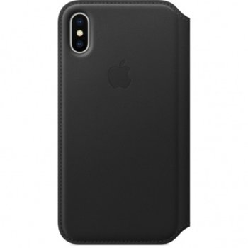 Калъф Apple iPhone X, flip cover, кожен, черен image