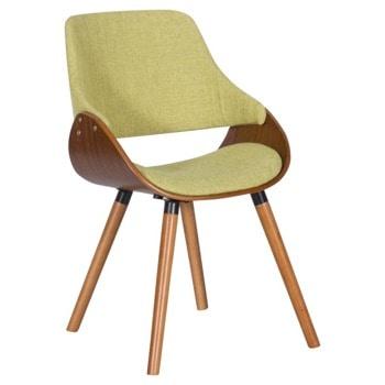Трапезен стол Carmen 9973, до 120кг. макс. тегло, орех, дамаска/дърво, дървена база, зeлен image