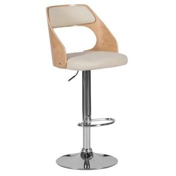Бар стол Carmen 4035, до 100кг, еко кожа, хромирана база, газов амортисьор, коригиране на височината, крем image