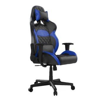 Геймърски стол Gamdias Zelus E1 L, кожа, до 190 кг натоварване, облегалка за гърба с 135 градуса регулиране, син image
