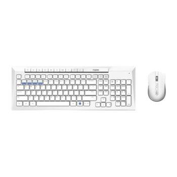 Комплект клавиатура и мишка Rapoo 8200M, безжични, възможност за свързване чрез Bluetooth 3.0/4.0 и безжична връзка 2.4 GHz, свързване с няколко устройства едновременно, без кирилизация, бял image