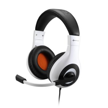 Слушалки, Sharkoon Rush Core, микрофон, гейминг бяло-черни image