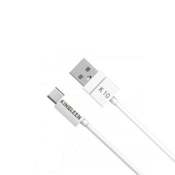 Кабел Kingleen, USB A(м) към USB Type-C(м), 1.2м, бял image