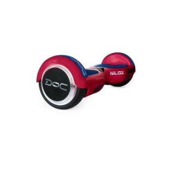 Ховърборд Nilox DOC Red, до 10км/ч скорост, 20км макс. пробег, до 100кг, 2x 240W двигатели, червен image