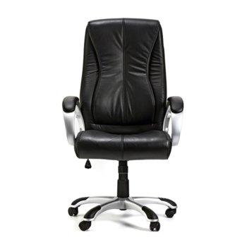 Директорски стол Hugo, естествена кожа, черен image