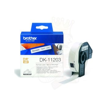 ЛЕНТА ЗА ЕТИКЕТНИ ПРИНТЕРИ BROTHER ТИП DK - File folder labels - 17 mm x 87 mm x 300 BLACK ON WHITE TAPE - P№ DK11203 image