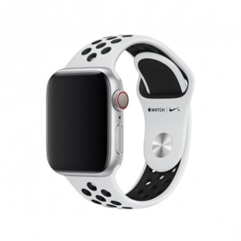 Каишка за смарт часовник Apple Watch (40mm) Pure Platinum/Black Nike Sport Band - S/M & M/L, бяла/черна image