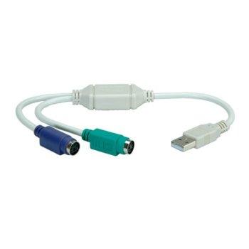 Преходник Roline 12.99.1075, от USB A(м) към 2x PS/2(ж) image