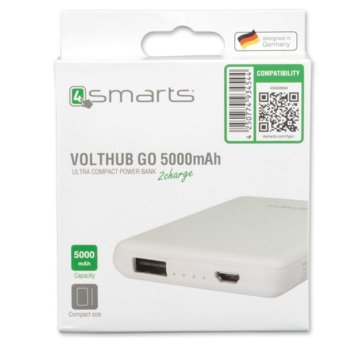 Външна батерия/power bank/ 4smarts Power Bank VoltHub Go, 5000 mAh, бяла image