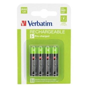 Verbatim Акумулаторна батерия, AAA, HR03, 950 mAh, 4 броя image