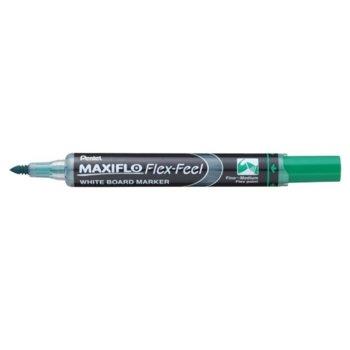 Маркер Pentel Maxiflo Flex-Feel, зелен, от 1.0 до 5.0 mm, за бяла дъска, огъващ се връх image