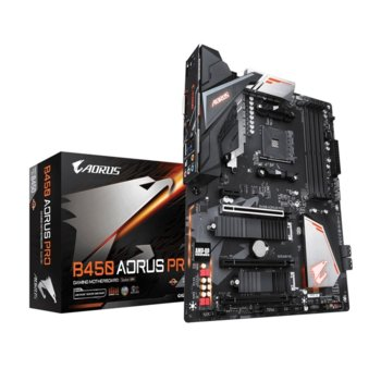 Дънна платка Gigabyte B450 AORUS PRO, B450, АМ4, DDR4, PCI-E, (DVI-D&HDMI), CrossFire, 6x SATA 6Gb/s, 2x M.2 socket, 1x USB Type-C, 1x USB 3.1 Gen2, ATX image