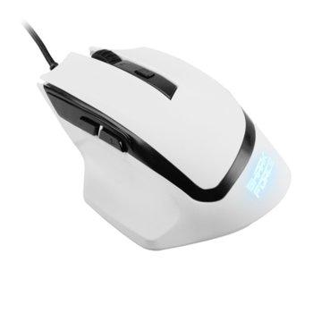 Мишка Sharkoon SHARK Force, оптична (1600 dpi), 6 бутона, подсветка, USB, бяла image