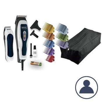 Машинка за подстригване Wahl ColorPro Combo (1395.0465), с тример, самонаточващи ножчета, 8 приставки за подстригване, жична, аксесоари, бяла/черен image