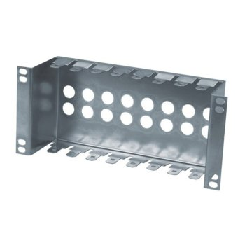"10"" patch panel for LSA-PLUS modules, height 2 1/2 U, 8 positions, zinc plating image"