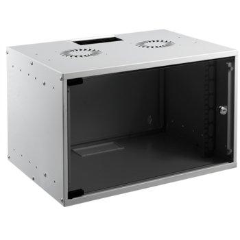 "Комуникационен шкаф, Mirsan MR-06-SOH30, 10"", 6U, 305 x 306 x 300, монтаж на стена, стъклена врата, сив image"
