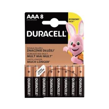 Батерия алкална Duracell, AAA, LR03, 1.5V, 8 бр. image