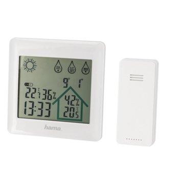 Електронна метеостанция Hama Action, термометър, часовник, дата, измерване на влажност, хигрометър, бяла image