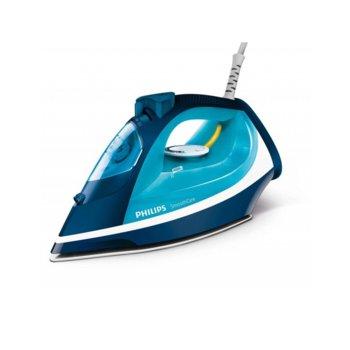 Парна ютия Philips Steam Blue, 40 г/мин. пара, 170г. парен удар, Safety Auto Off, 2400W, синя image