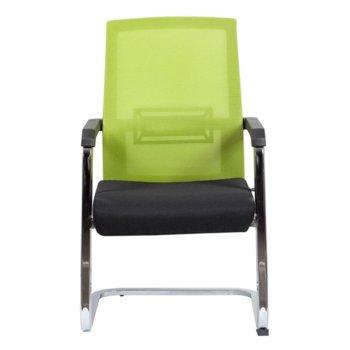Посетителски стол RFG Roma M, дамаска и меш, черна седалка, светло зелена облегалка image