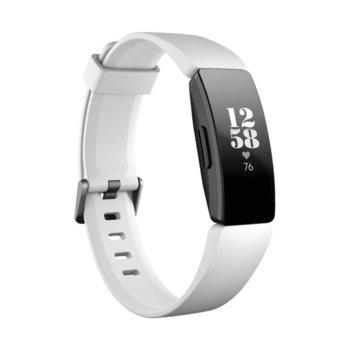 Смарт гривна Fitbit Inspire HR, акселерометър, oптичен пулсомер, до 5 дни време на работа, Bluetooth 4.0, бяла image