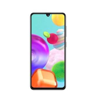 """Смартфон Samsung SM-415 GALAXY A41 (черен), поддържа 2 SIM карти, 6.1"""" (15.49 cm) FHD+ Super AMOLED, осемядрен Mediatek MT6768 2GHz, 4GB RAM, 64GB Flash памет (+ microSD слот), 48.0 MP + 8.0 MP + 5.0 MP & 25.0 MPix камера, Android 10 image"""