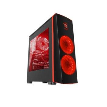 Кутия Genesis TITAN 700 RED, ATX, M-ATX, Mini-ITX, USB 3.0, 3x включени LED вентилатора, прозорец от закалено стъкло, черна/червена, без захранване image