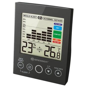 Цифров термо-хигрометър Bresser Mould Alert Hygrometer Black, измерва температура и влажност, диаграма за промяната на влажността на въздуха за последните 24 часа, аларма в случай на разрастване на плесен, черен image