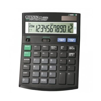 Калкулатор Citizen CT-666N, възможност за проверка до 120 стъпки, черен image