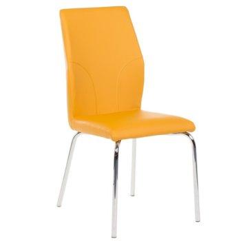 Трапезен стол Carmen 313, Еко кожа, хромирана база, до 100kg, жълт image