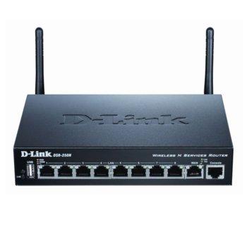 Рутер D-Link DSR-250N, 300 Mbps, 2.4GHz(300 Mbps), Wireless N, 8x LAN 1000, 1x WAN 1000, 1x USB 2.0, 2x външни антени image
