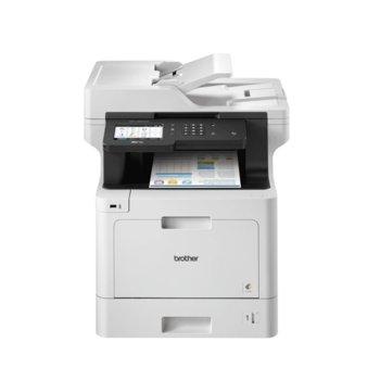 """Мултифункционално лазерно устройство Brother MFC-L8900CDW, цветен, принтер/копир/скенер/факс, 1200 x 600 dpi, 31 стр/мин, USB, 12.6""""(32.00 cm) цветен сензорен дисплей, LAN1000, Wi-Fi, ADF, двустранен печат, A4 image"""