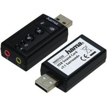 Външна звукова карта Hama 51620, 7.1, USB image