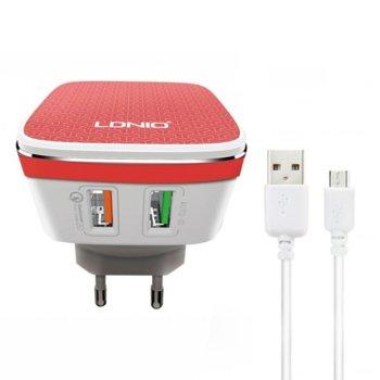 Зарядно устройство LDNIO A2405Q,от контакт към USB x2, 5V, 2.4A, бял image