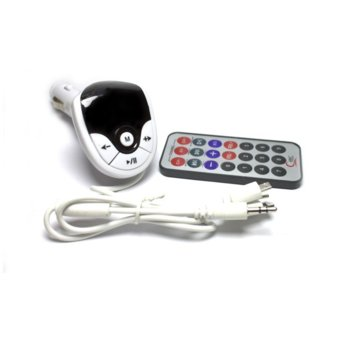 FM трансмитер DeTech, захранване от автомобилна запалка, с дистанционно, кабел 3.5мм жак/USB microB(м)/Lightning(м), бял image
