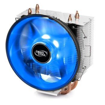 Охлаждане за процесор DeepCool GAMMAXX 300 B, съвместимост с Intel LGA 1151/1150/1155/1156/1366/775 & AMD AM4/FM2+/FM2/FM1/AM3+/AM3/AM2+/AM2, синя LED подсветка image