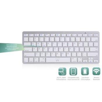 Клавиатура Ewent EW3163, безжична, Bluetooth, (Qwerty), бяла image