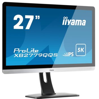 "Монитор Iiyama Prolite XB2779QQS-S1, 27""(68.58 cm) IPS панел, WQHD, 4ms, 80 000000 : 1, 440 cd/m2, HDMI, DisplayPort image"