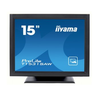 "Дисплей Iiyama T1531SAW-B5, тъч дисплей, 15"" (38.1 cm), XGA, DisplayPort, VGA, HDMI image"