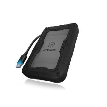 """Кутия 2.5"""" (6.35 cm) RaidSonic IB-AC603PL-U3 за HDD/SSD, USB 3.0, гумиран калъф, черна image"""