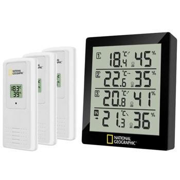 Цифров термо-хигрометър Bresser National Geographic 74621, измерва температура и влажност, 4 резултата от измерване, ранна профилактика на мухъл, 3бр. включени външни датчици, черен image